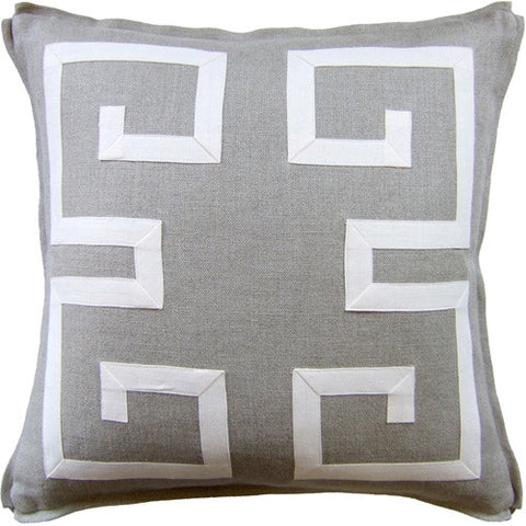 "Ryan Studio Greek Key Fretwork 22"" Pillow In Slubby Linen Flax With Nevada Ecru"