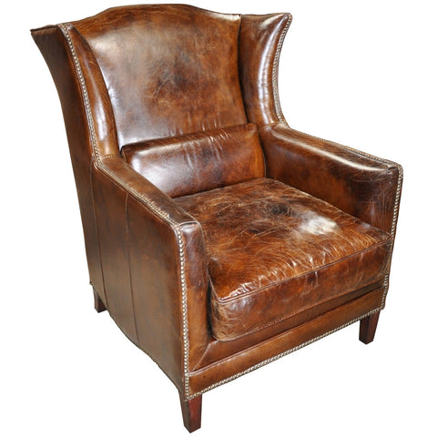 Noir Club Chair, Vintage Cigar Leather