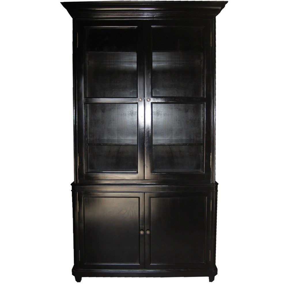 Noir Colonial Display Cabinet, Hand Rubbed Black