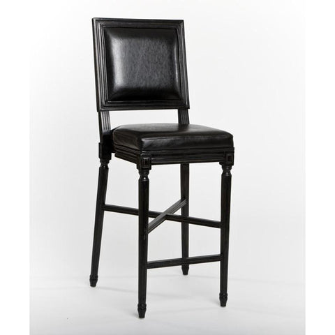 Zentique Louis Barstool in Black Leather