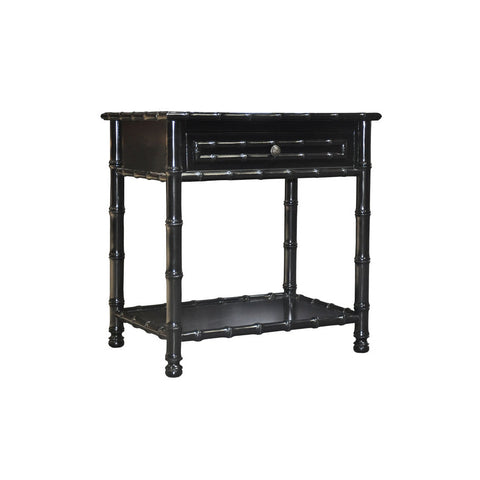 Noir Bamboo Open Shelf, Hand Rubbed Black