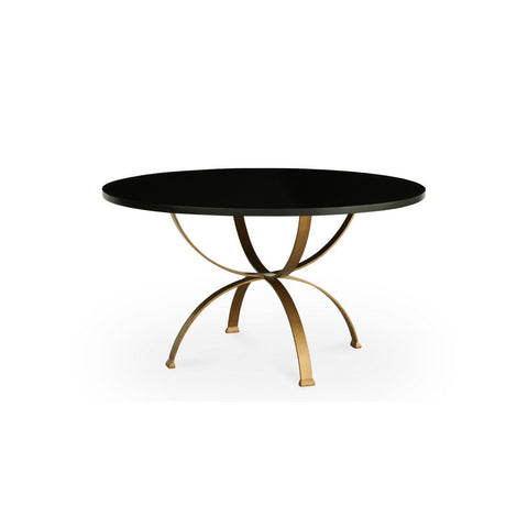 Redford House Sophia Round Dining Table, Small, in Espresso/Gold