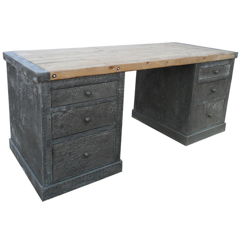 Noir Zinc Desk with Old Wood Top