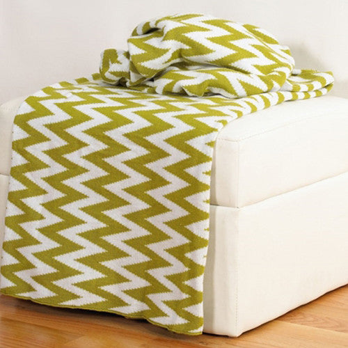 Rizzy Home Chevron Throw in Lime
