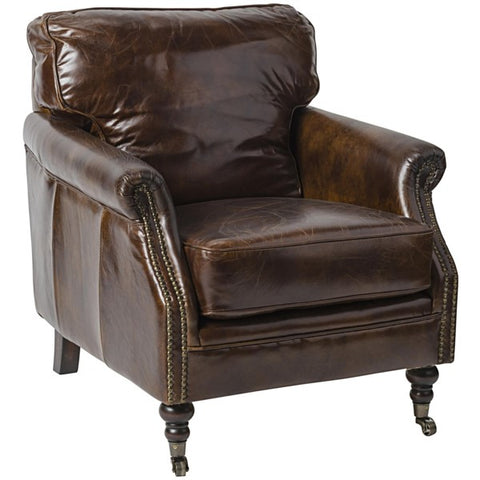 Club Chair, Vintage Cigar Leather