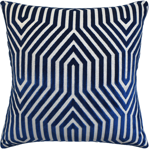 Ryan Studio Vanderbilt Velvet Pillow in Bleu