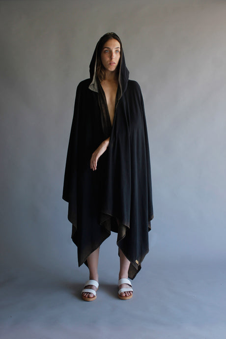 ACID BLACK CAPE WITH HOODIE
