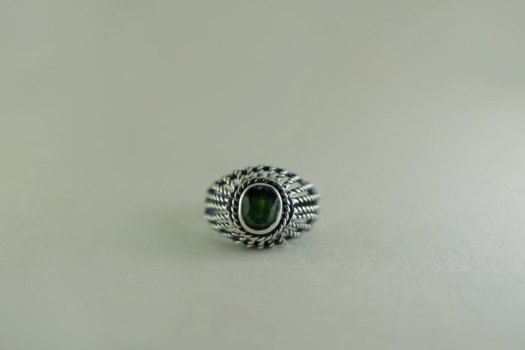 SILVER BLACK GREEN SAPPHIRE SILVER RING