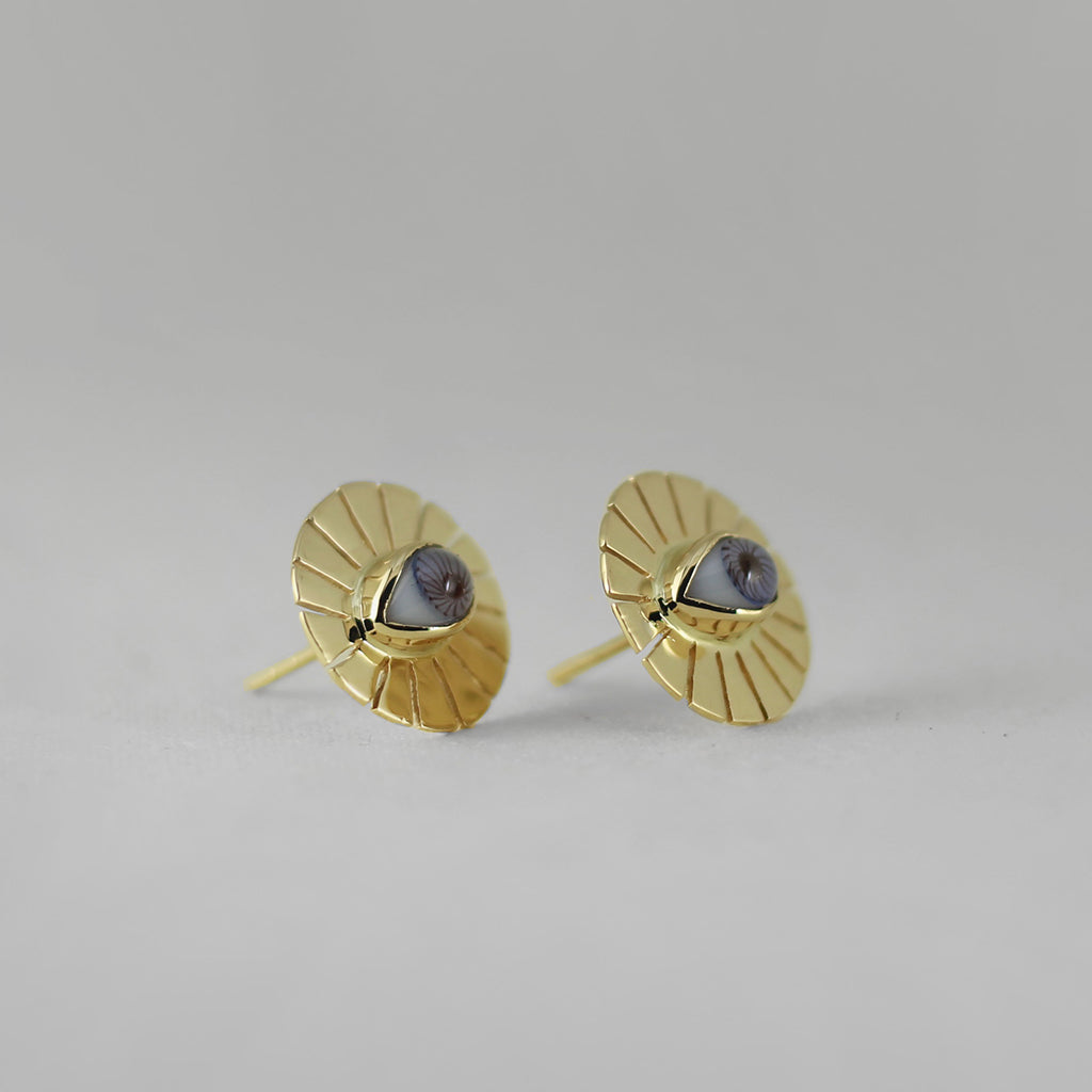 SUN 18K GOLD STUD EARRINGS