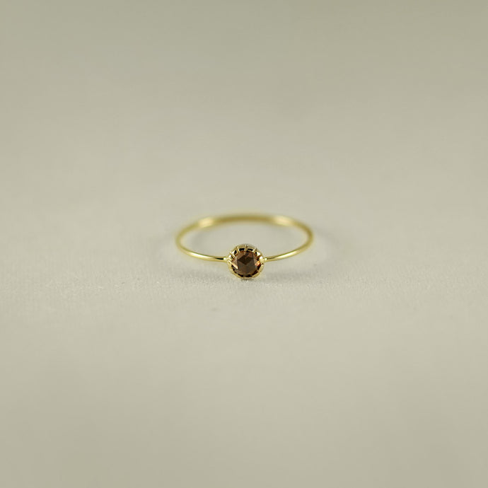 ROSE CUT BIG DIAMOND 18K GOLD RING