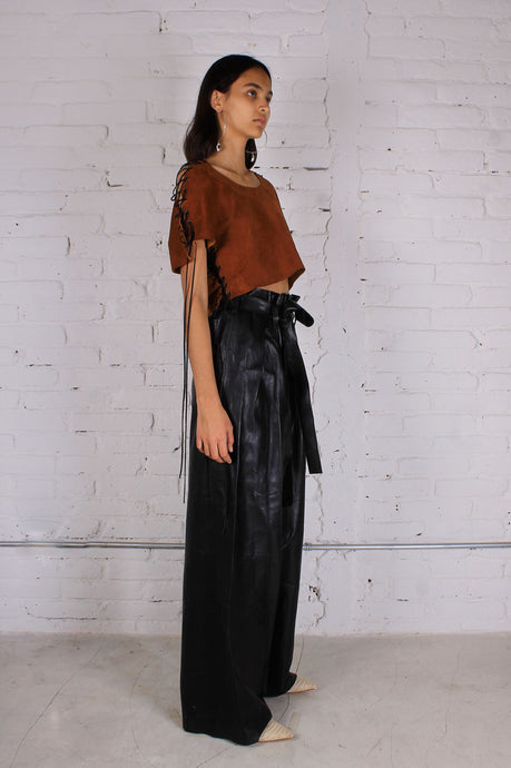 LEATHER POCAHONTAS CROP TOP