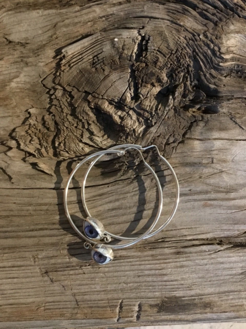 LARGE SILVER HOOPS WITH EYES