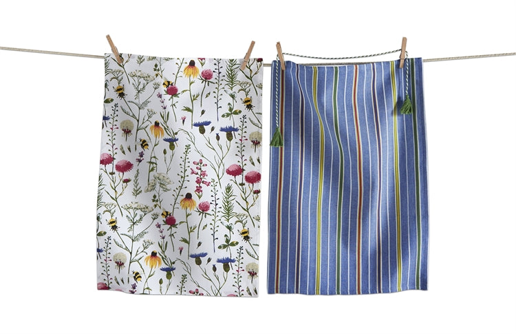 TAG Bee Wildflower Dishtowel, Set of 2