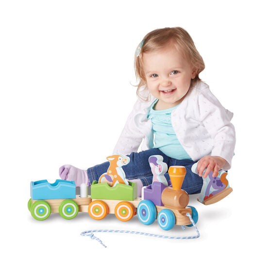 Melissa and Doug® First Play Wooden Rocking Farm Animals Pull Train