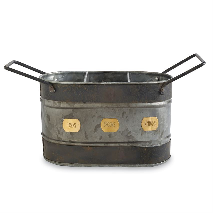 Mud Pie Galvanized Tin Utensil Caddy