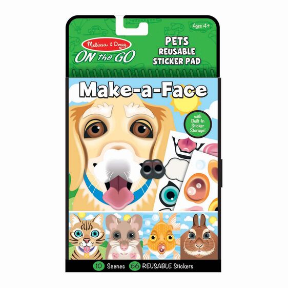 Melissa & Doug® Make-a-Face - Pets Reusable Sticker Pad - On the Go Travel Activity
