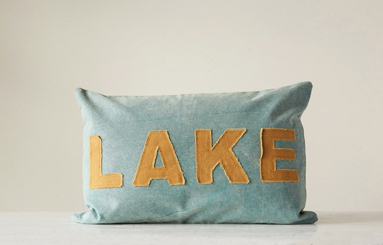 Creative Co-op Cotton Canvas Appliqued Pillow