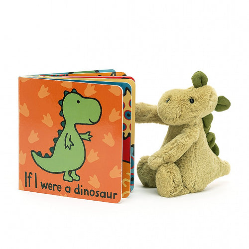 Jellycat If I Were A Dinosaur Book And Bashful Dino Small Plush Set