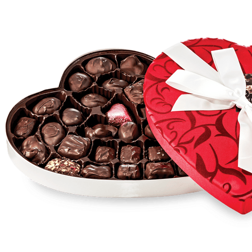 Abdallah Candies Fancy Fabric Heart – Assorted Dark Chocolates 12.25oz Heart Box