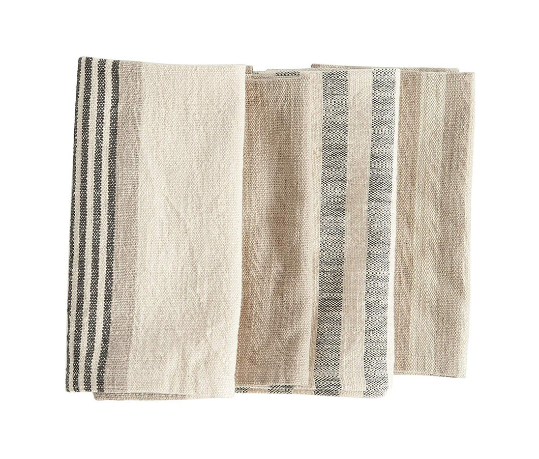 Creative Co-op Taupe, Black & Cream Striped Cotton Woven Napkins, Set of 4