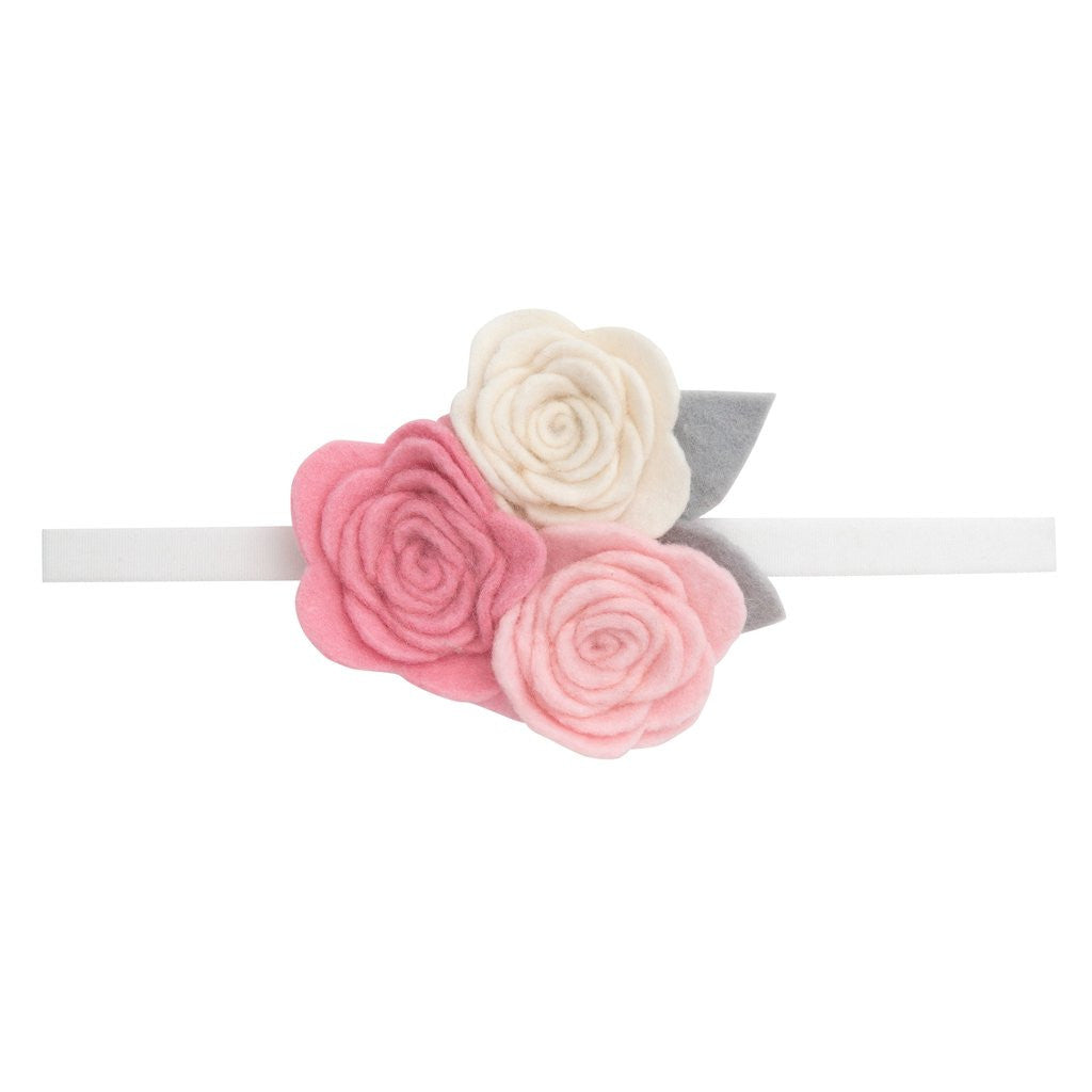 Elegant Baby White Headband With Three Rose Topper Anne Paige