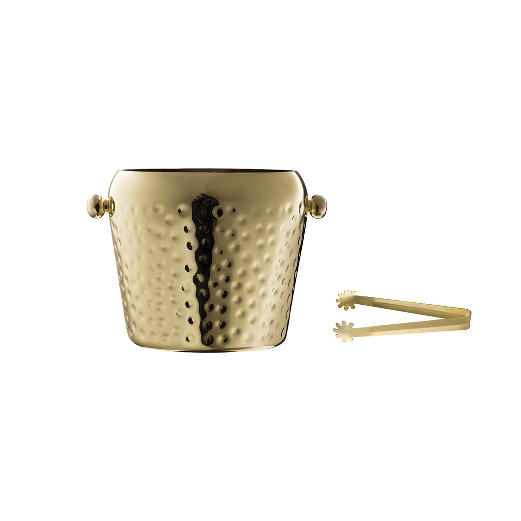 Creative Co-op Electroplated & Hammered Stainless Steel Ice Bucket with Tongs (Set of 2 Pieces), Gold finish