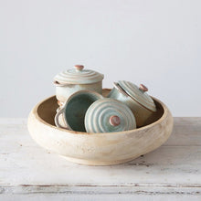 Creative Co-Op Round Stoneware Mini Baker w/Lid, Reactive Glaze, Matte Celadon Color (Each One Will Vary)