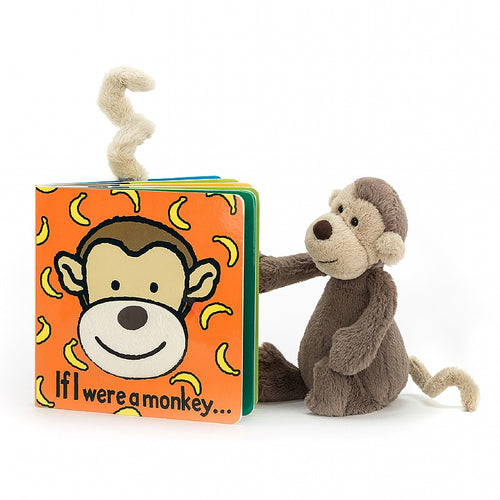 Jellycat If I Were A Monkey Book And Bashful Monkey Small Plush Set
