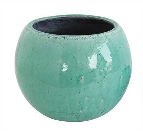 Creative Co-Op Round Aqua Stoneware Planter