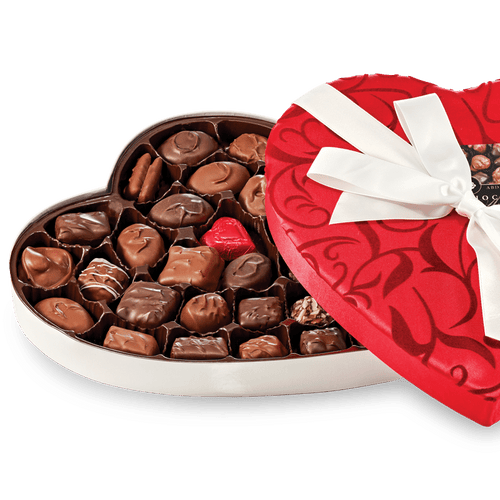 Abdallah Candies Fancy Fabric Heart – Assorted Chocolates