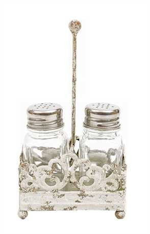 Creative Co-Op Metal Salt and Pepper Caddy with Shakers