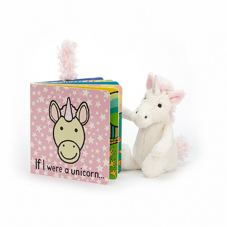 Jellycat If I Were A Unicorn Book And Bashful Unicorn Plush Set
