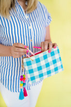 Taylor Elliott Designs Blue Gingham Pouch with Pom and Tassel Keychain