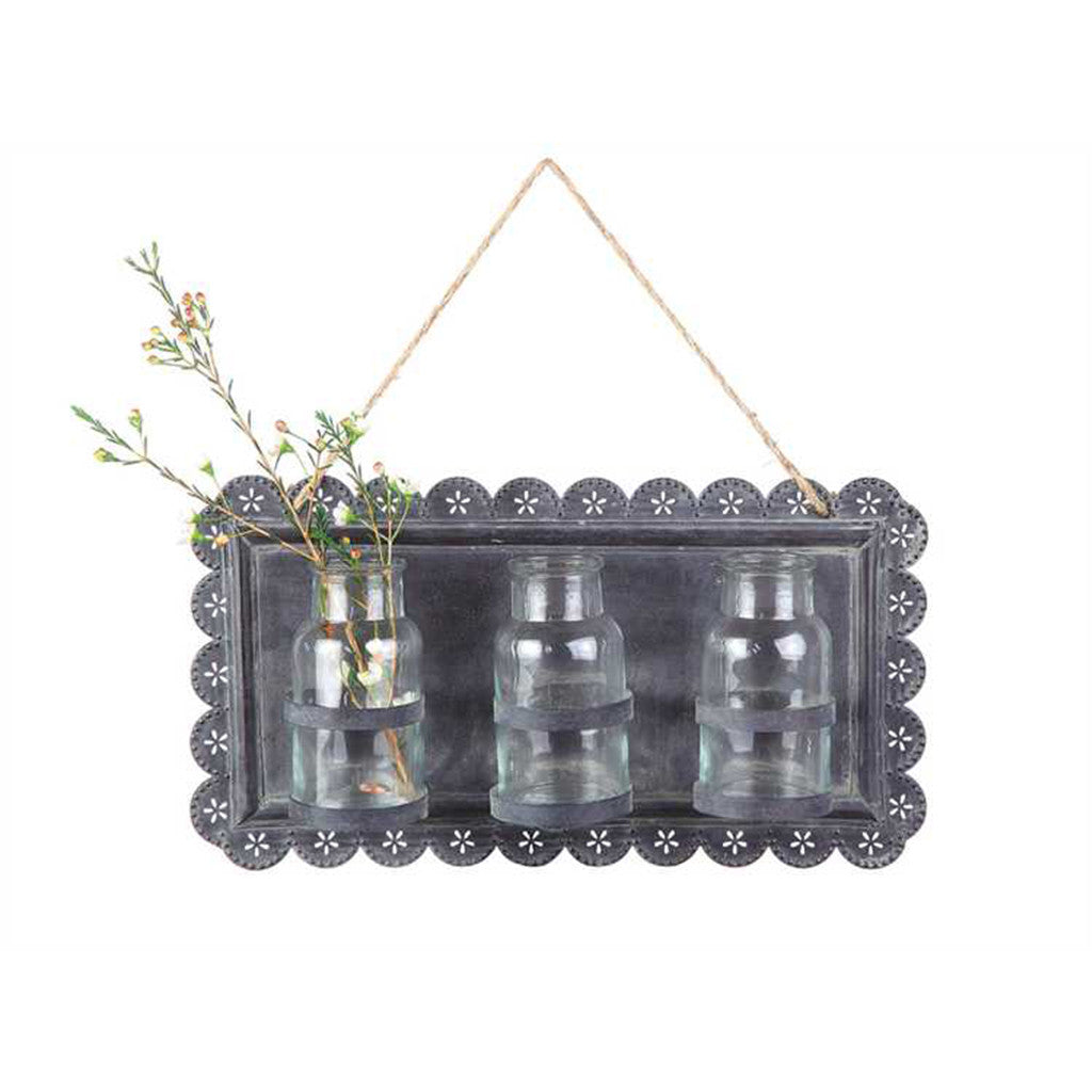 Creative Co-Op Tin Wall Decor with Three Glass Vases