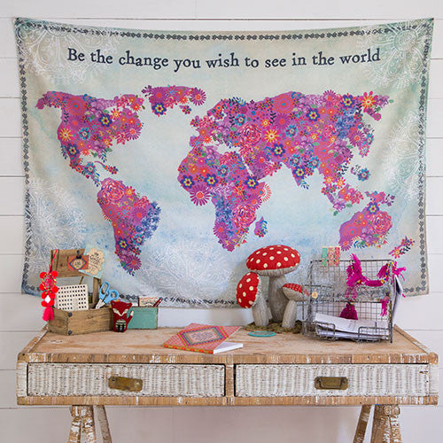 Natural Life World Map Tapestry