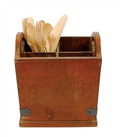 Creative Co-Op Square Wood and Metal Utensil Holder