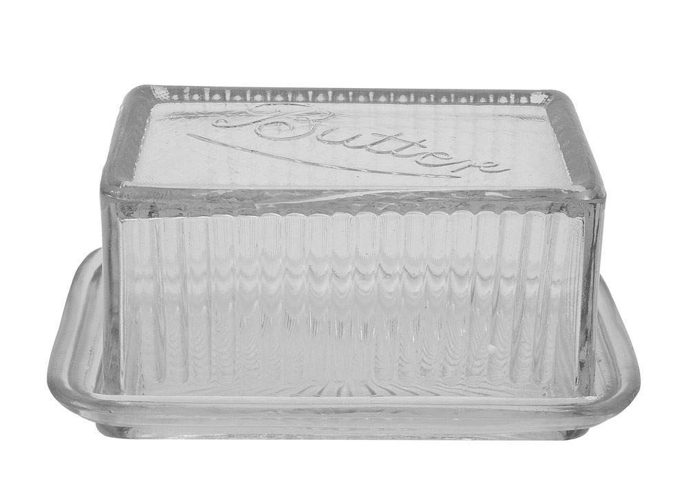 Creative Co-Op Pressed Glass Butter Dish
