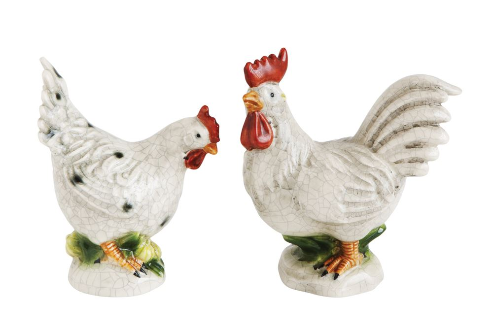 Creative Co-Op Stoneware Rooster Set