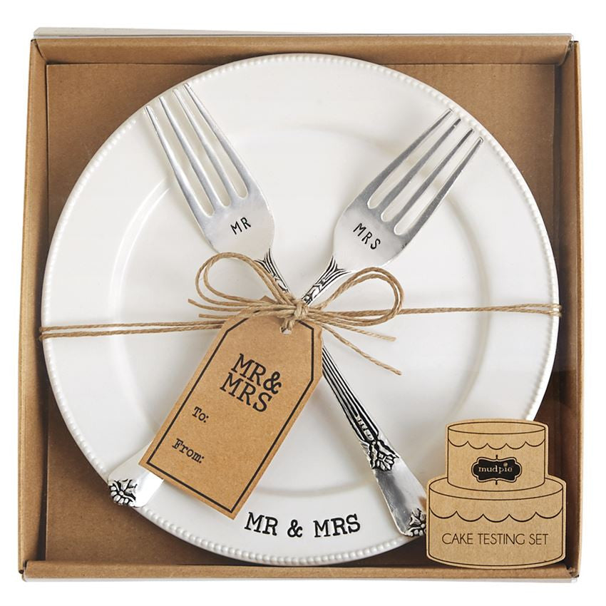 Mud Pie Mr & Mrs Plate and Fork Set