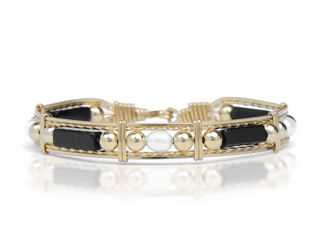 Ronaldo Onyx, Pearl, and Gold Bead™ Bracelet