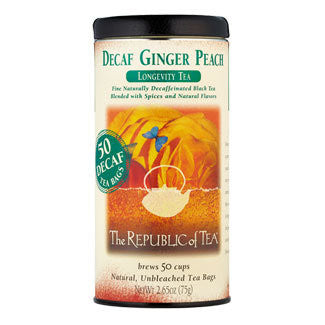 The Republic of Tea Decaf Ginger Peach Black Tea Bags