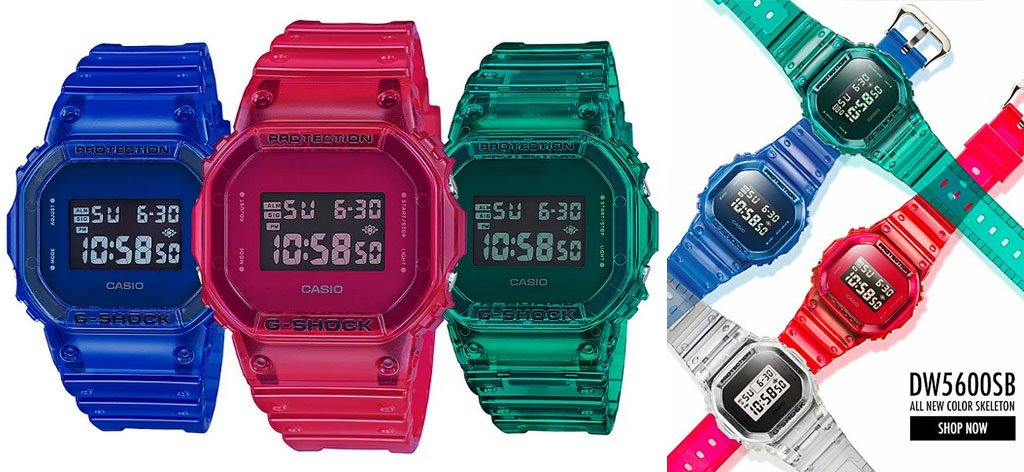 Casio G-Shock Presents New, Trendy 90s COLOR SKELETON Digital Watches
