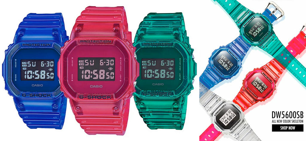 Casio G-Shock's 90'S COLOR SKELETON Series of Digital Mens Watches DW5600