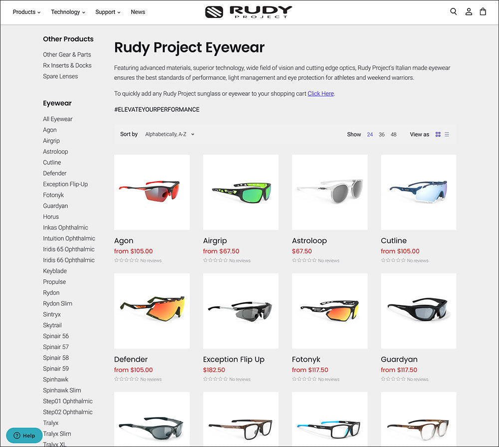 Rudy Project Product Collection Screen