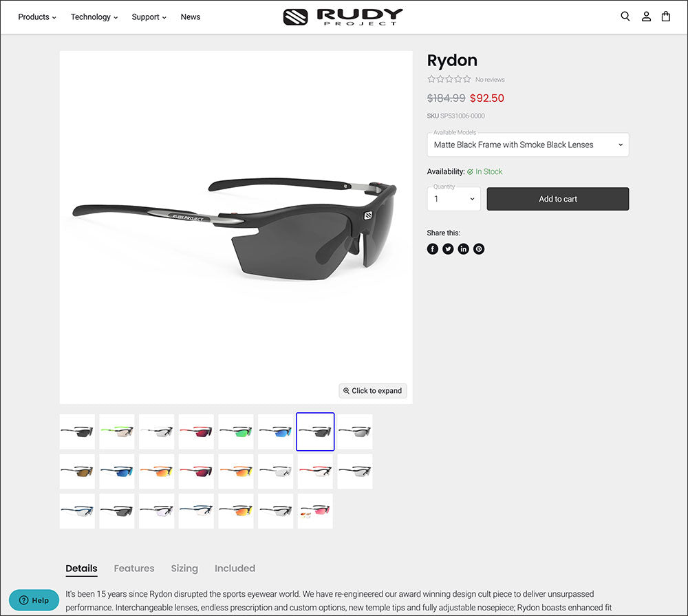 Rudy Project Product Details Page