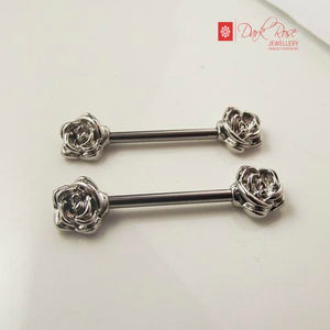 Dark Rose Silver Barbell 2pc - Dark Rose Jewellery