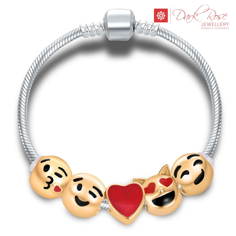 Emoji Charm Bracelet - Dark Rose Jewellery