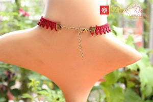 Dark Rose Red Lace Necklace - Dark Rose Jewellery