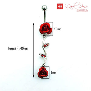 Dark Rose Flower Belly Bar - Dark Rose Jewellery