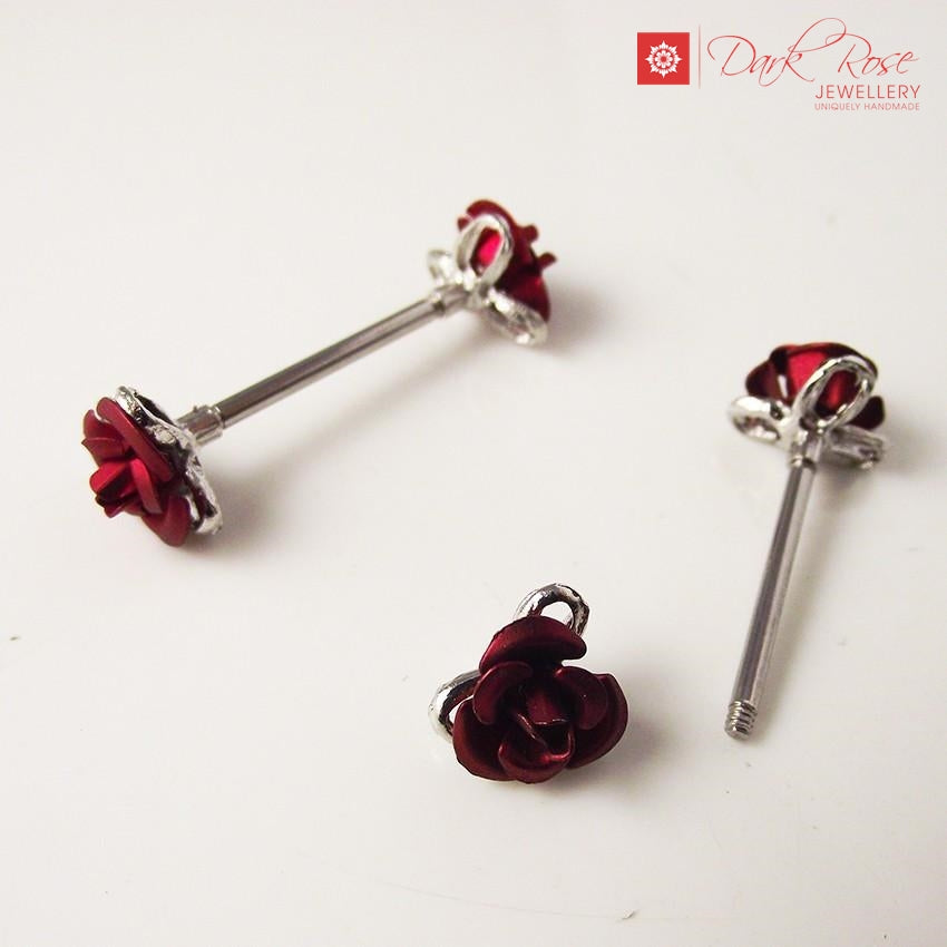 Dark Rose Flower Barbell 2pc 14G - Dark Rose Jewellery